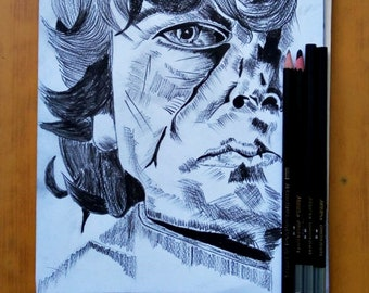 Tyrion Lannister Game of Thrones Charcoal Pencil Drawing | Powered by #SyedArt