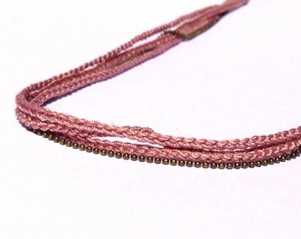 """Headband Vieux Rose 3 tresses + chaine LIANES - Coiffure Mariage / Cérémonie / Quotidien- Collection """"Gypsy Chic"""""""