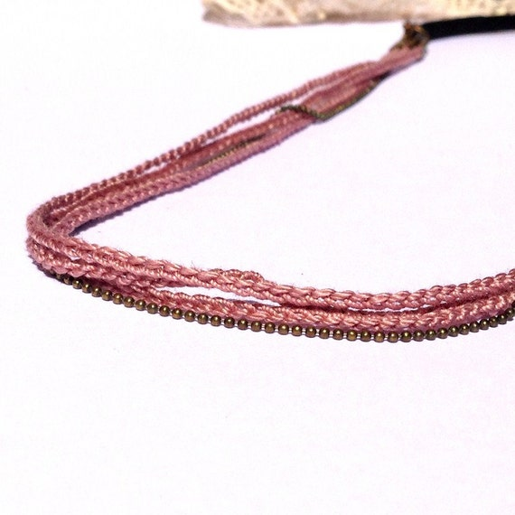 """Headband old Rose 3 braids + chain vine - bridal hair accessories / ceremony / every day - """"Gypsy Chic"""" Collection"""