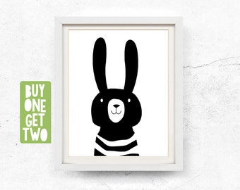Rabbit print, Animal print nursery, Nursery animal art, Black white nursery, Kids wall art, Rabbit printable, Scandinavian art, 8x10, 11x14
