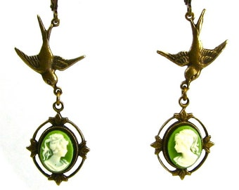 Neo Victorian Cameo Earrings with Dainty Filigree Frames and Swallows in Pale Green