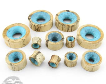 """Tamarind Wooden Tunnels with Blue Resin Inlay - Sizes / Gauges (1/2"""" up to 1 & 1/2"""" Inch)"""