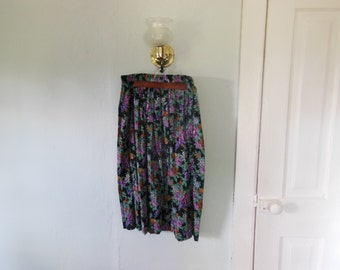 80s/90s Jewel-tone Floral Skirt