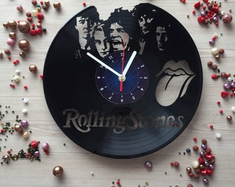 Rolling Stones Vinyl Record Wall Clock music gifts for men women will love it Rolling stones gifts idea art decor bedroom British Knights!