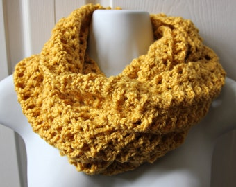 Handmade crocheted ,knit ,mustard or custom color infinity scarf, womens scarf, teen scarf, womens fashion - Custom colors available!
