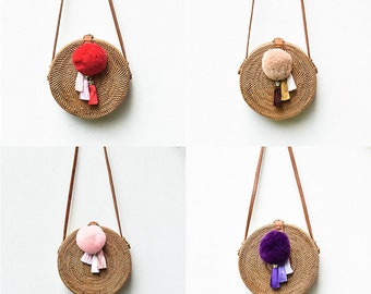 Round Rattan Bag Crossbody Personalized Leather POM-POM Silk Tassels Soft Fur Lush Customised  Travel Holiday Luxury Ata Brown Ribbon