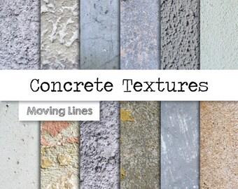 Concrete Texture Digital Paper, Grunge Stone, Distressed Background, Stucco Wallpaper, Plaster Wall 300 dpi 12 JPG files