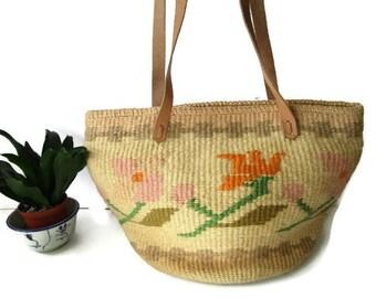 Wonderful 1990s Summer Bag, Woven Straw Market Bag, Vintage 80s Beige Shoulder bag Handbag, Ethnic Tote, Sisal Beach Bag, Hippie Boho Purse