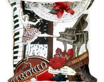 Music Dancer Pillow-Dance,Grand Piano,Piano,Roses,Crown,Dancing,Baby Grand,Wagner,Red,Keyboard,Collage,Black and White,Ballet