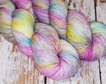 Hand Dyed Sock Yarn, Superwash Merino Wool Nylon in Pink Green Yellow and blue