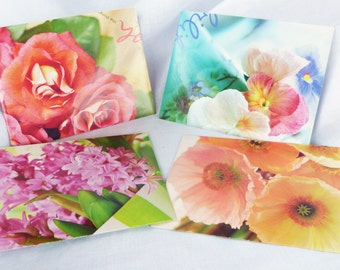 4pc Envelope/Card Set - Colorful Pastel Flowers, Recycled Calendar