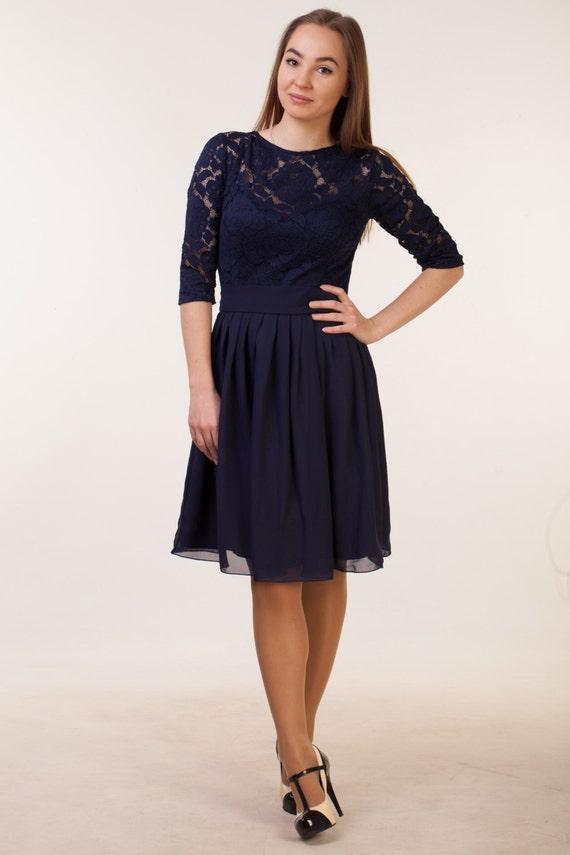 Kurzes navy blau Kleid mit Ärmeln Navy Blau Brautjungfernkleid