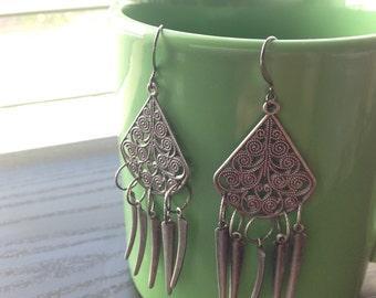 Chandelier earrings gunmetal gray filigree dagger drops