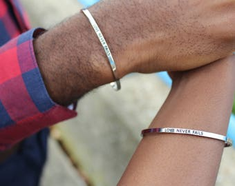 Love Never Fails bracelet by FaithfulBand - Relationship Gift, Relationship Bracelet, Couple Bracelet, Couples Jewelry, Christian Gift