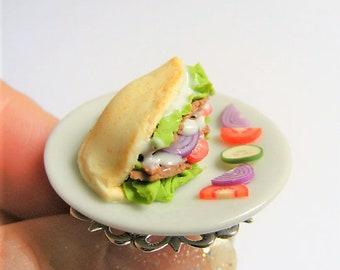Food Jewelry Doner Kebab Ring, Doner Ring, Pitta Kebab Ring, Miniature Food, Mini Food Jewelry, Kawaii Ring, Dollhouse Food, Kawaii Ring
