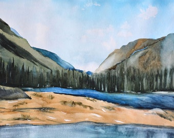 Rocky Mountain Large Print Wall Decor,16x20,18x24, 20x30,24x32 inch Landscape,Large Watercolor Print,Canadian Rockies Mountain Art Landscape