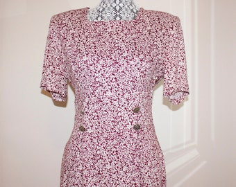 Vintage Women's Dress- 1980s Floral Dress - Burgundy and White