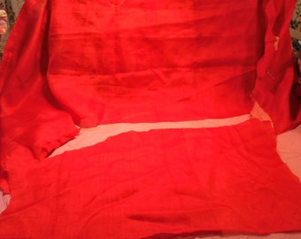 Antique Fabric Red Silk Remnants