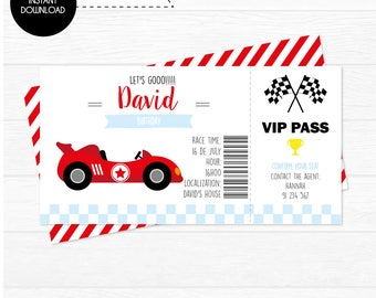 The Race Car , Race Car Printable Ticket invitation | Instant Download | Edit with Adobe Reader