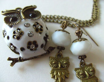 Hedwig, Snow owl, pendant, earrings, set, white, Snow, owl,necklace, by NewellsJewels on etsy