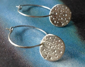 Tiny Starburst Galaxy Sterling Silver Earrings Hoop Drop Dangle Celestial Stars Moon Modern Small Hand Engraved Artisan Jewelry Gift Wrap