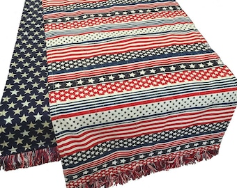 Patriotic Table Runner, 4th of July Table Runner, Stars and Stripes Table Runner