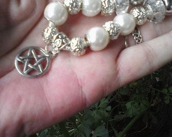 Pagan Wiccan White pearl with Pentagram, Euro style bracelet