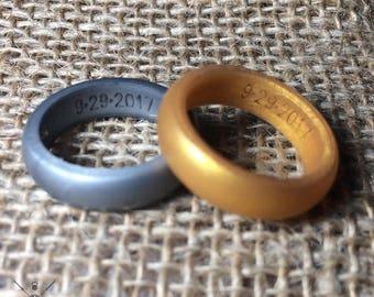 Mens Silicone Wedding Ring Garnet Red Silicone Wedding