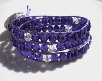 Triple Wrap Bracelet Beaded Bracelet Swarovski Crystals Purple Velvet  Vintage Button, Boho Jewelry