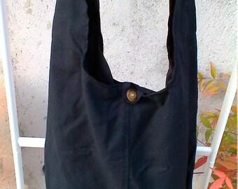 Black cotton hobo bag with inner pocket