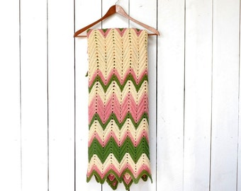 Crochet Throw Blanket 70s Small Vintage Retro Chevron Striped Green Pink Cream Couch Blanket 49 x 34 Inches
