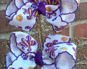 Large Hair Bow,  LSU Tigers, Purple and gold