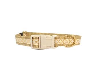 Fancy Dog Collar, Moroccan Print, Quatrefoil Print, Gold Ivory Beige Tan, Small Dog Collar,