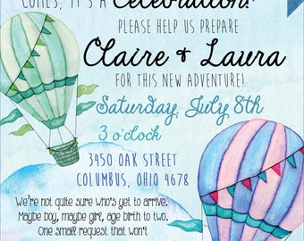 Balloons Adoption/Foster Baby Shower Invitation