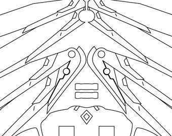 """Overwatch Mercy Wings Template/Blueprints-Includes TWO Versions, 1:1 Scale 60"""" for Prop-making & Cosplay AND Mini Version for Laser Cutting!"""