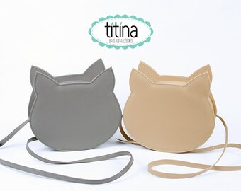 grey and camel faux leather no face cat bag cross body bag