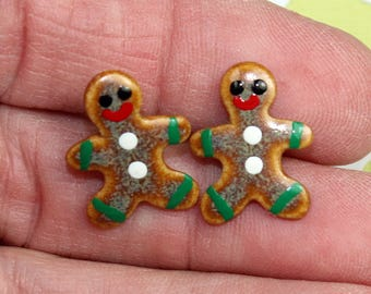 Mini Gingerbread Boy Christmas Earrings Handmade Porcelain Ceramic Jewelry