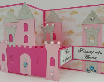 Birthday card Holiday Castle and princess in personalized cardboard