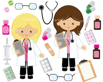 INSTANT DOWNLOAD. CD_4_doctor clipart. Doctor girl clipart. Personal and commercial use.