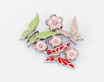 Vintage brooch, floral brooch, butterfly brooch, silver brooch, vintage jewellery, retro brooch, rooch,vintage jewelry, gift, Christmas gift