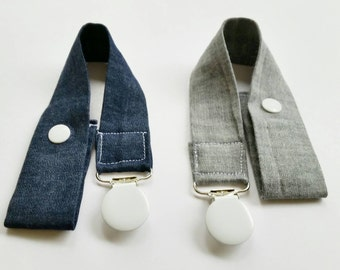 Pacifier Clip Set of Two Modern Baby Pacifier Clips - Baby Boy Pacifier Clips // Baby Girl Pacifier Clips /  Chambray Denim Pacifier Clips