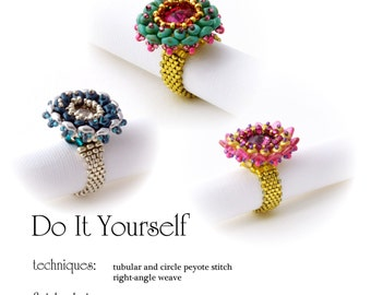 step by step INSTANT download Pdf beading PATTERN Ring #008