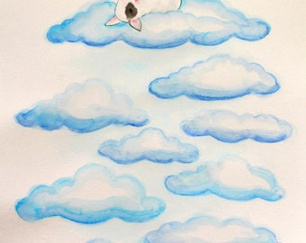 "On Cloud Nine - fine art print signed 8""x10"" by Noewi - English Bull Terrier dog puppy - funny illustration"