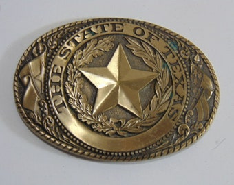 Vintage Collectible Texas State Brass Belt Buckle by Tony Lama