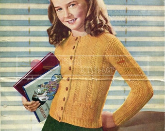 Girl's Jumper Cardigan 10 years Chunky Sirdar 1311 Vintage Knitting Pattern PDF instant download