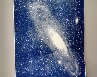 Large Galaxy Cyanotype on Watercolor Paper