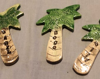 Set of 3 Herb Spice Palm Tree Markers