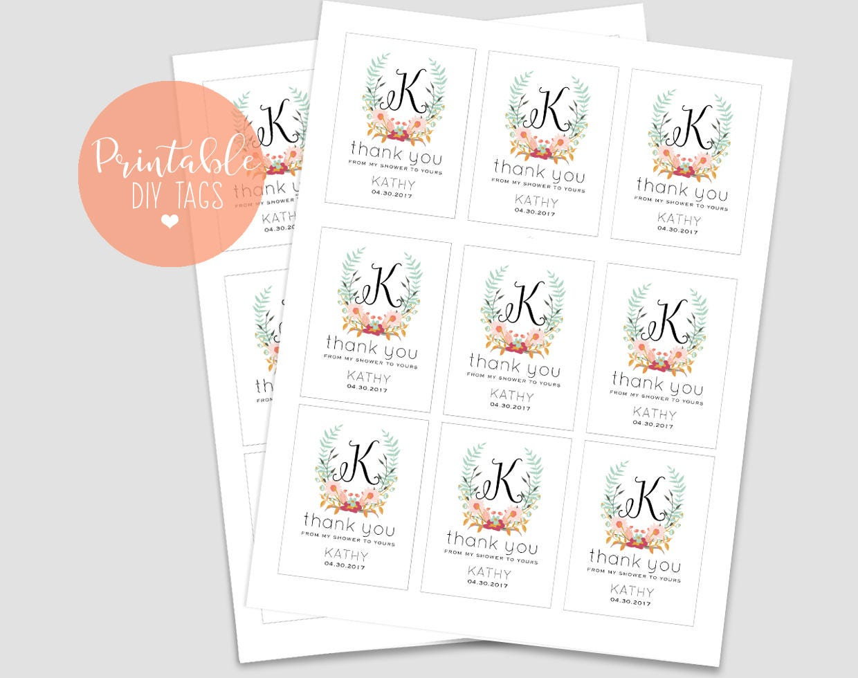 Printable Bridal Shower Favor Tags, From My Shower to Yours Template ...