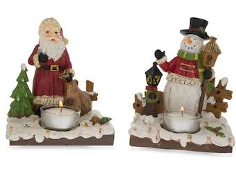 """6"""" Set of 2 Santa and Snowman Candle Holders"""