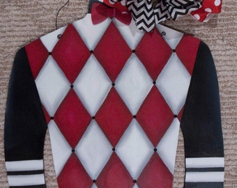 Jockey Silk - Red and White Argyle